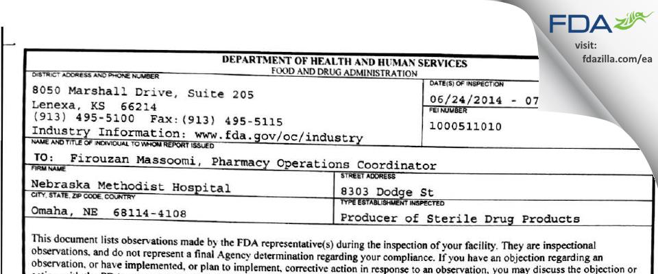 Nebraska Methodist Hospital FDA inspection 483 Jul 2014