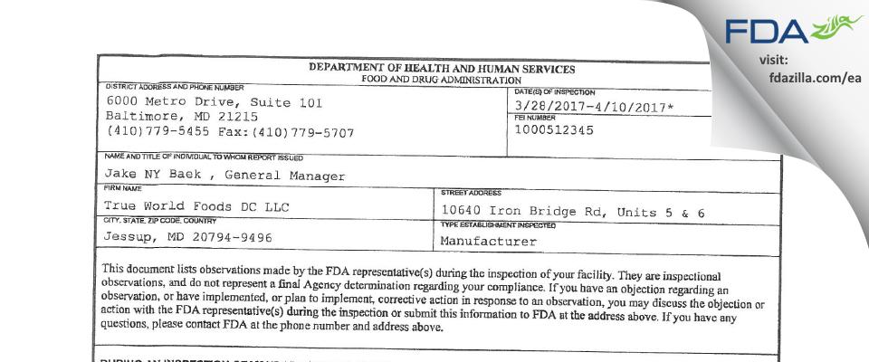 True World Foods DC FDA inspection 483 Apr 2017