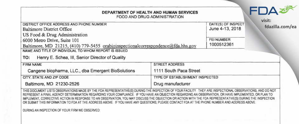 Cangene BioPharma FDA inspection 483 Jun 2018
