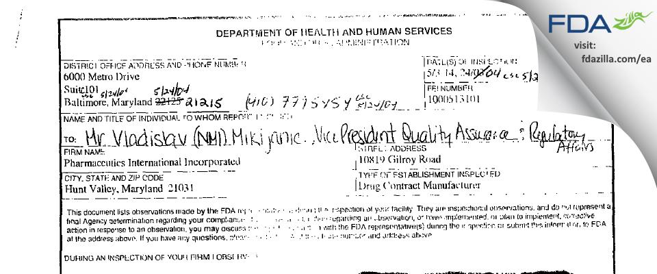 Pharmaceutics International FDA inspection 483 May 2004