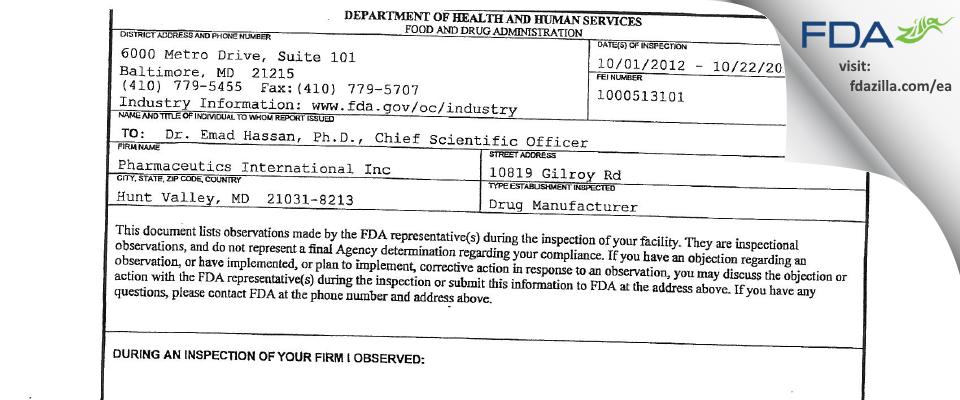 Pharmaceutics International FDA inspection 483 Oct 2012
