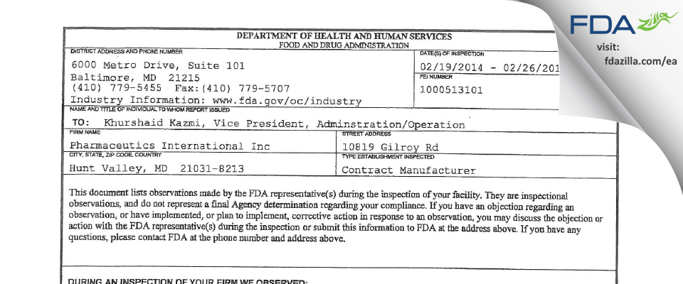 Pharmaceutics International FDA inspection 483 Feb 2014