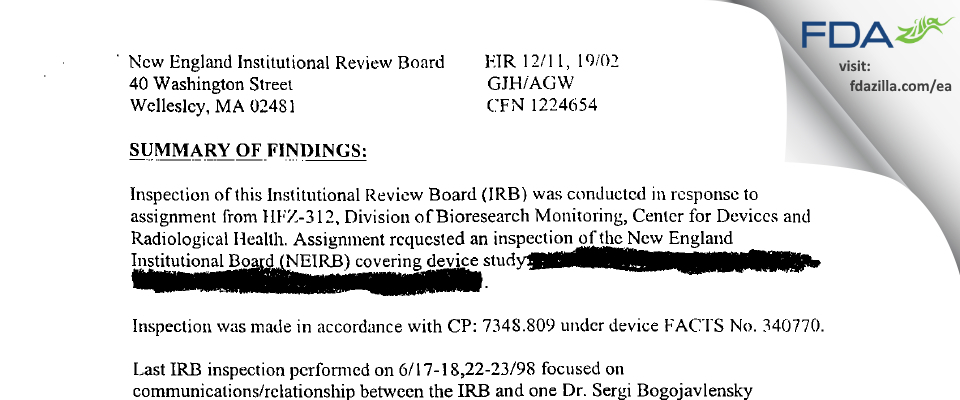 New England Institutional Review Board FDA inspection 483 Dec 2002