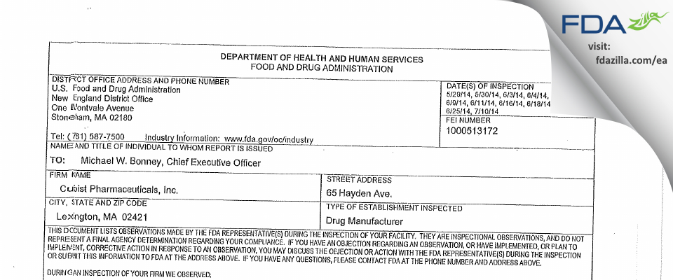 Cubist Pharmaceuticals FDA inspection 483 Jul 2014