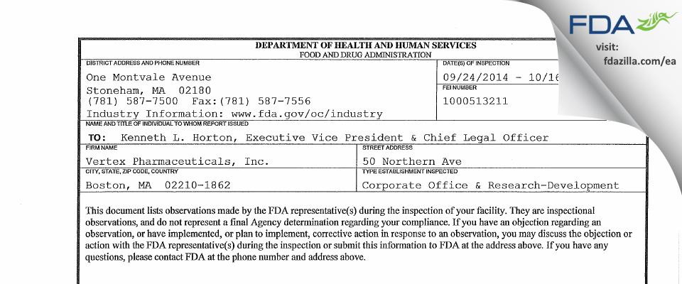 Vertex Pharmaceuticals FDA inspection 483 Oct 2014