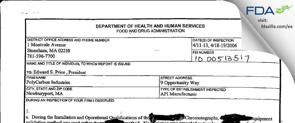 PolyCarbon Industries FDA inspection 483 Apr 2006