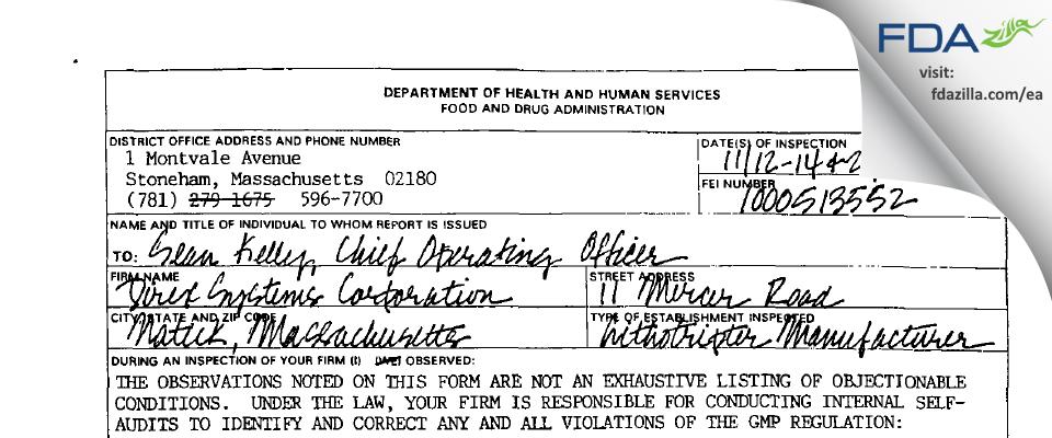 Direx Systems FDA inspection 483 Nov 2002