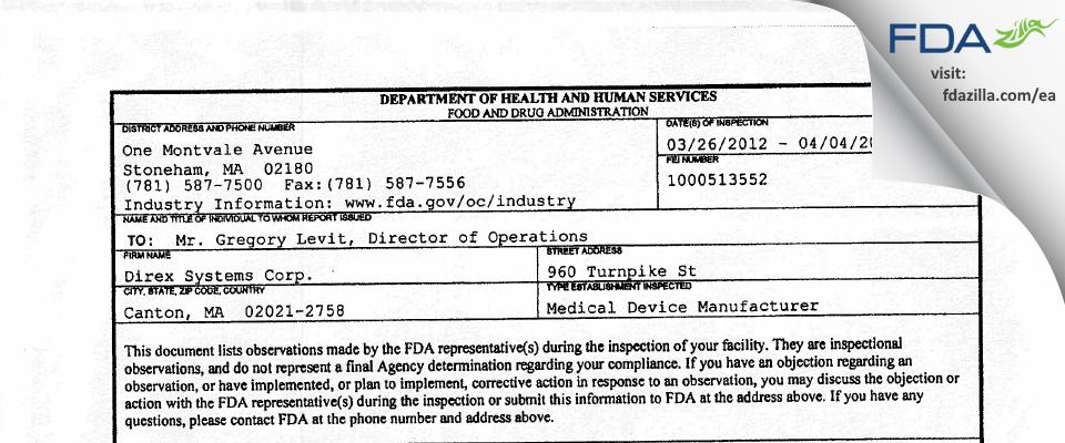 Direx Systems FDA inspection 483 Apr 2012