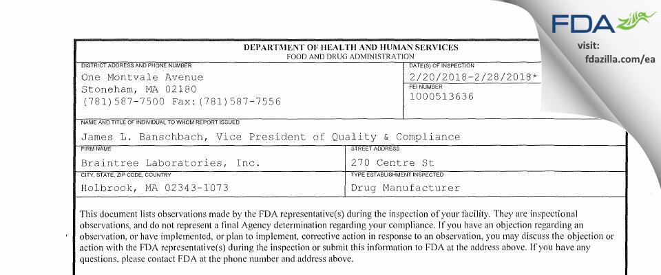 Braintree Labs FDA inspection 483 Feb 2018