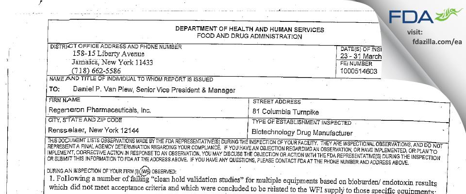 Regeneron Pharmaceuticals FDA inspection 483 Mar 2010