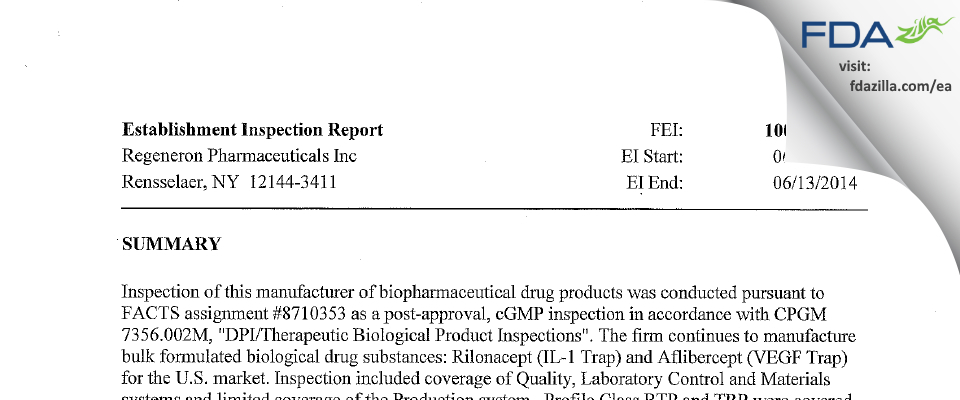 Regeneron Pharmaceuticals FDA inspection 483 Jun 2014
