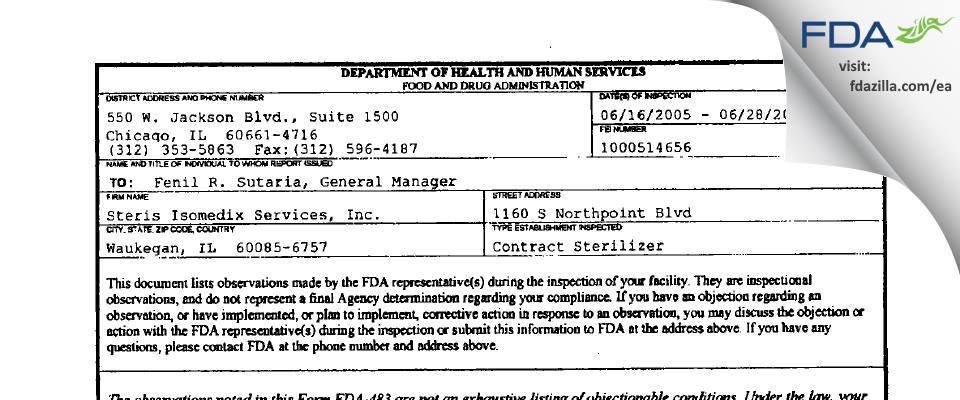 Medline Industries (Northpoint Services) FDA inspection 483 Jun 2005