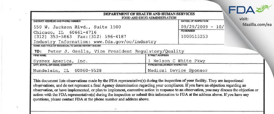 Sysmex America FDA inspection 483 Oct 2009