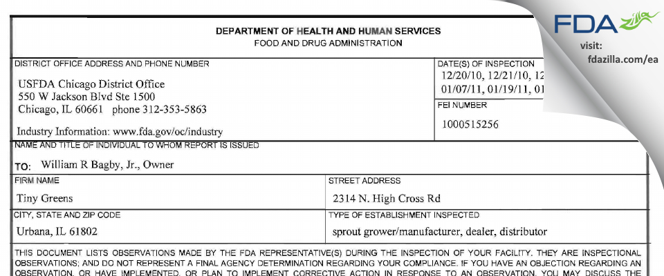 Tiny Greens FDA inspection 483 Jan 2011