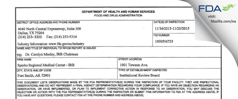 Sparks Regional Medical Center - IRB FDA inspection 483 Nov 2015