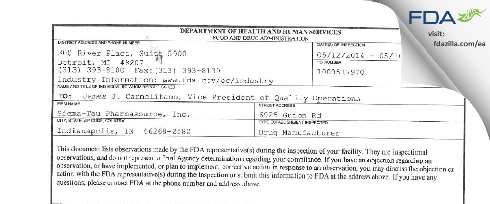 Exelead FDA inspection 483 May 2014