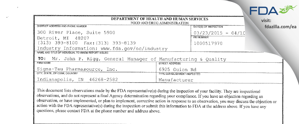 Exelead FDA inspection 483 Apr 2015