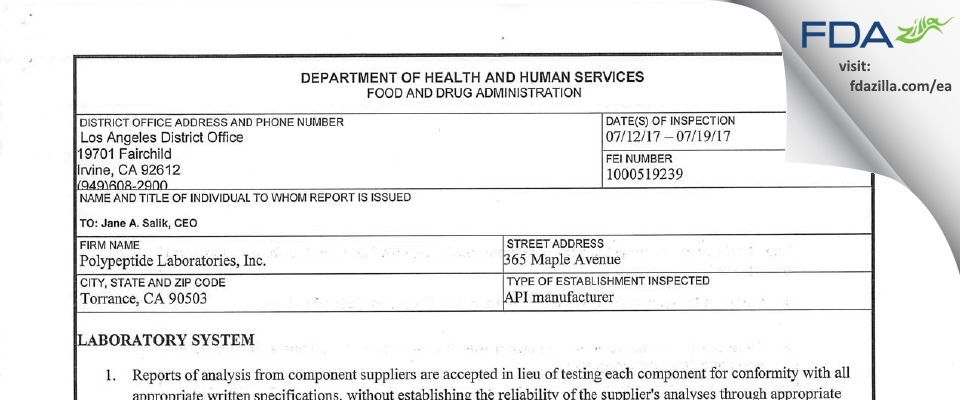 Polypeptide Labs FDA inspection 483 Jul 2017