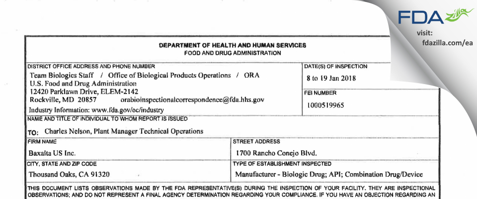Baxalta US FDA inspection 483 Jan 2018