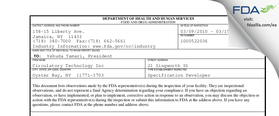 Circulatory Technology FDA inspection 483 Mar 2010