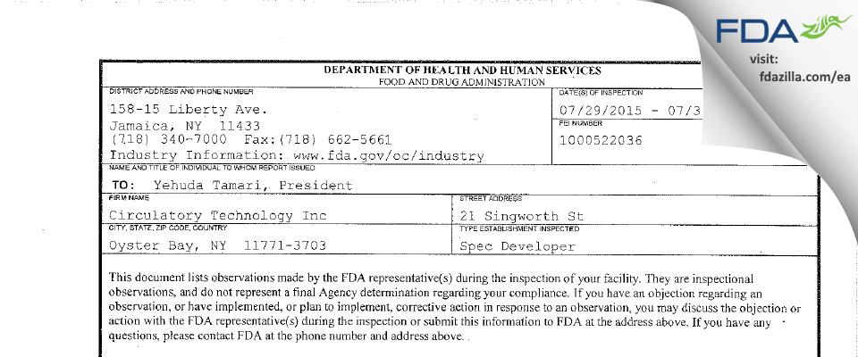 Circulatory Technology FDA inspection 483 Jul 2015
