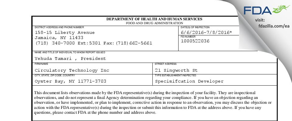 Circulatory Technology FDA inspection 483 Jul 2016