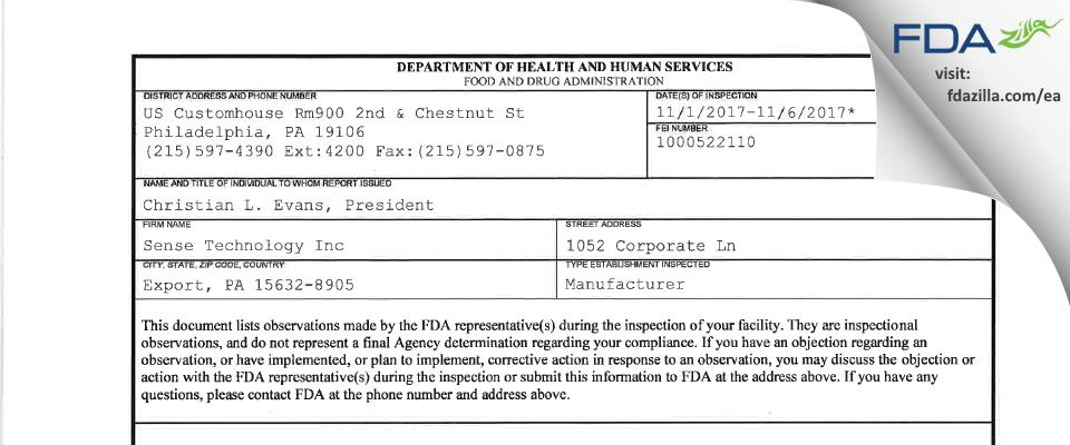 Sense Technology FDA inspection 483 Nov 2017