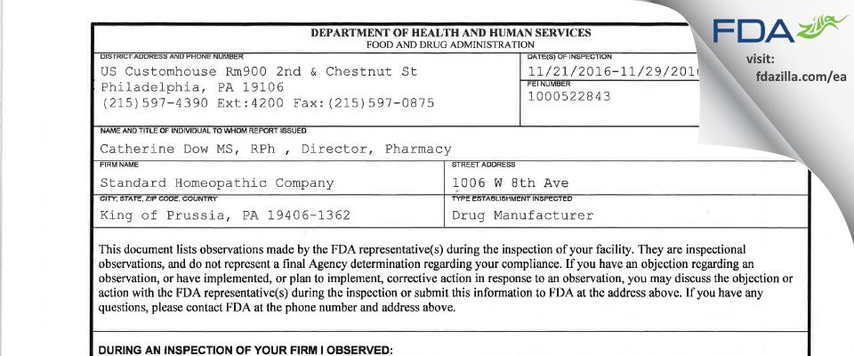 TX Options FDA inspection 483 Nov 2016