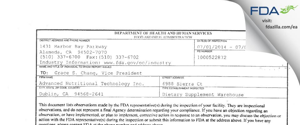Advanced Nutritional Technology FDA inspection 483 Jul 2014