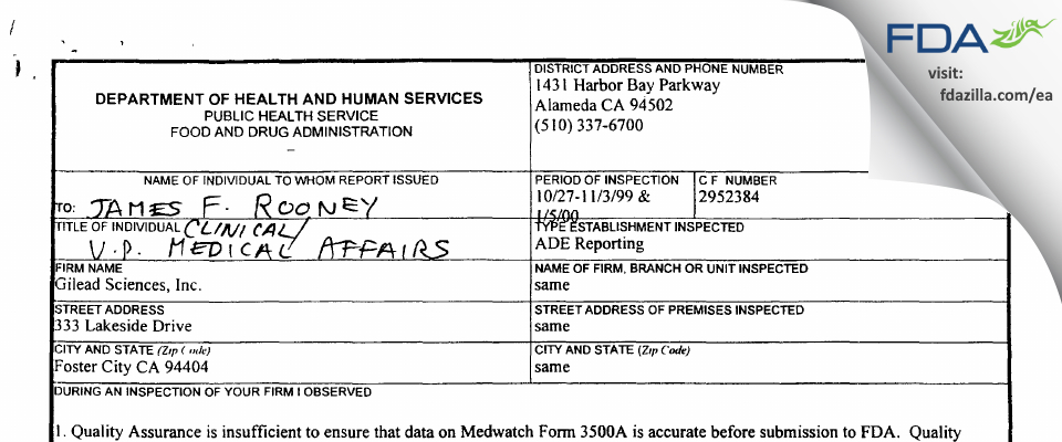 Gilead Sciences FDA inspection 483 Jan 2000