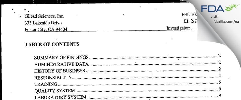 Gilead Sciences FDA inspection 483 Feb 2005