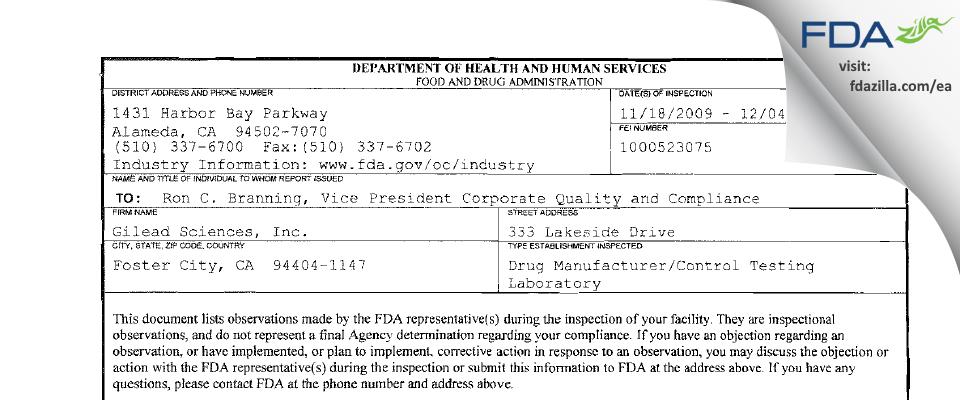 Gilead Sciences FDA inspection 483 Dec 2009