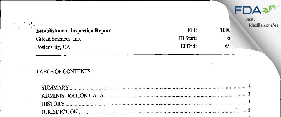 Gilead Sciences FDA inspection 483 Jun 2010