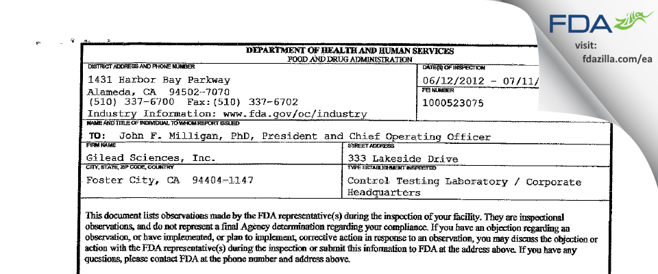 Gilead Sciences FDA inspection 483 Jun 2012