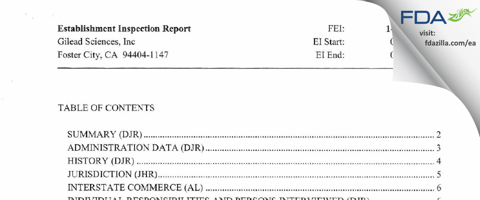 Gilead Sciences FDA inspection 483 Jan 2014
