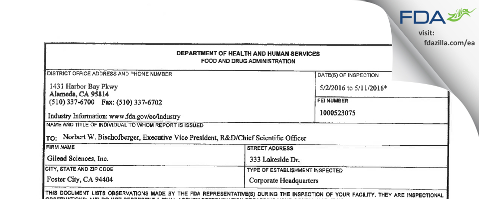 Gilead Sciences FDA inspection 483 May 2016