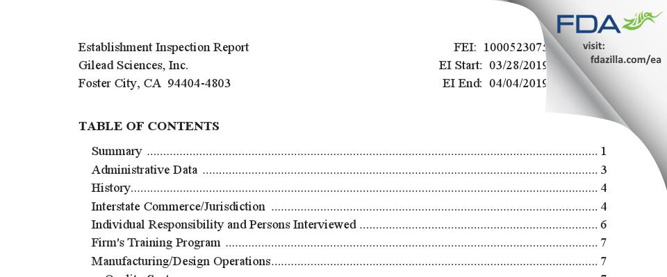 Gilead Sciences FDA inspection 483 Apr 2019
