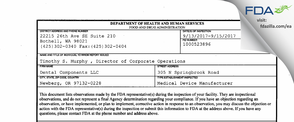 Dental Components FDA inspection 483 Sep 2017