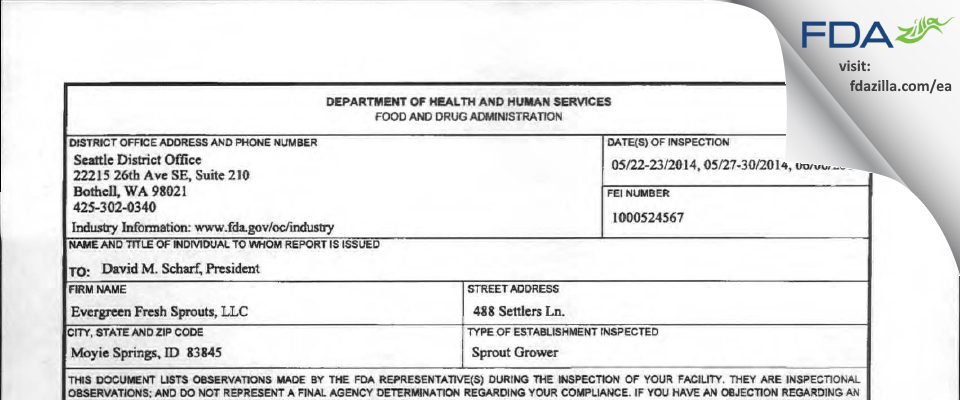 Evergreen Fresh Sprouts FDA inspection 483 Jun 2014