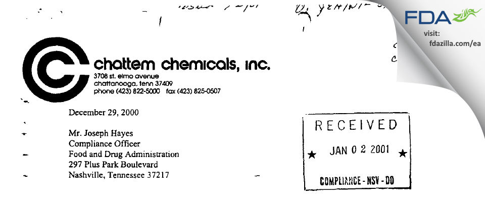 Chattem Chemicals FDA inspection 483 Dec 2000