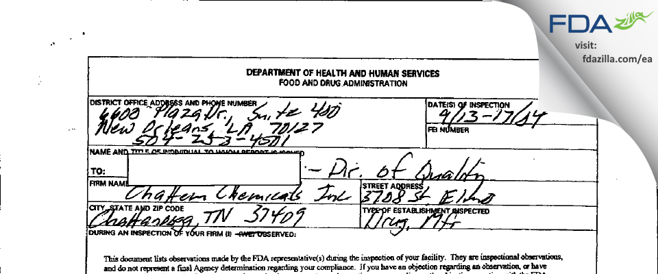Chattem Chemicals FDA inspection 483 Sep 2004
