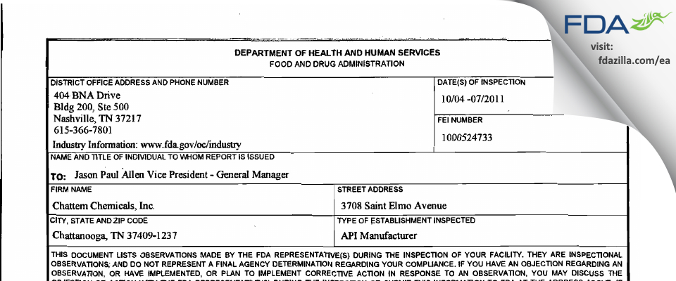Chattem Chemicals FDA inspection 483 Oct 2011