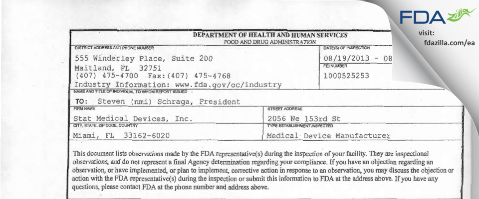 Stat Medical Devices FDA inspection 483 Aug 2013