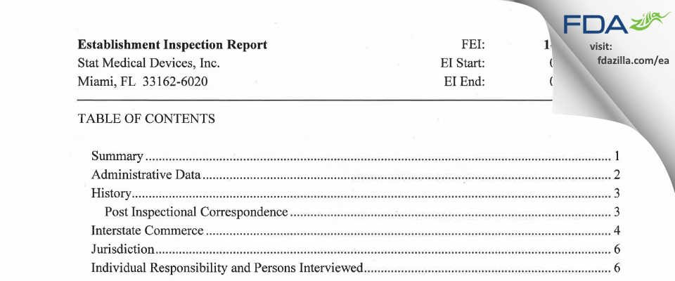 Stat Medical Devices FDA inspection 483 Feb 2015