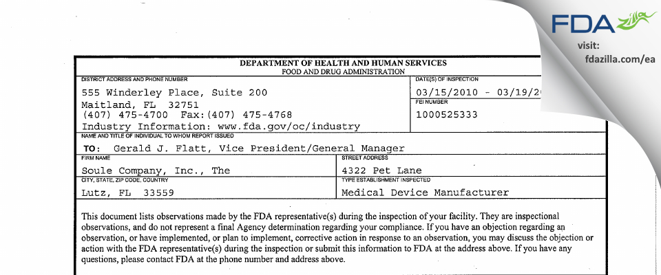 The Soule Company, dba Soule Medical FDA inspection 483 Mar 2010