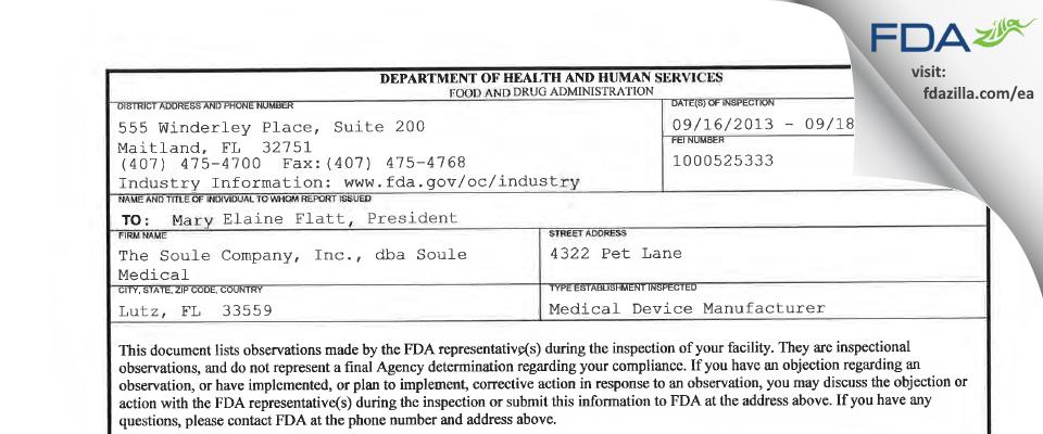 The Soule Company, dba Soule Medical FDA inspection 483 Sep 2013