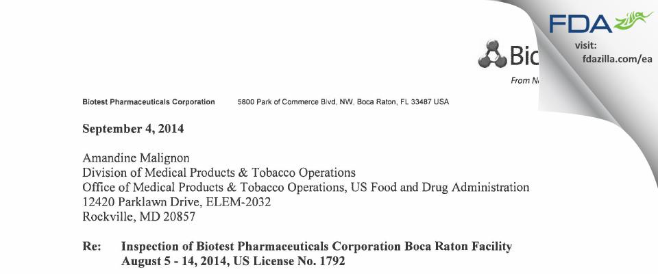 ADMA Biologics FDA inspection 483 Aug 2014