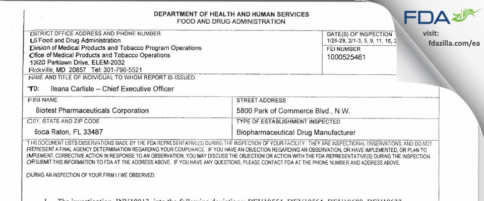 ADMA Biologics FDA inspection 483 Mar 2016