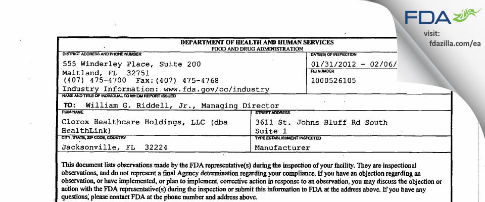 Clorox Healthcare Holdings FDA inspection 483 Feb 2012