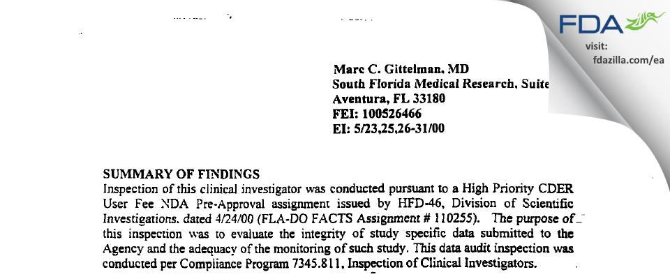 Gittelman, Marc C, MD FDA inspection 483 May 2000